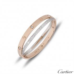 Cartier Love Rose & White Gold Pave Diamond BraceletSize 17N6039217
